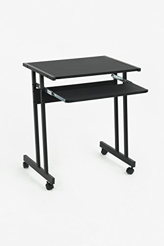 Black Finish Mobile Computer Desk Table Laptop Student Workstation Home Office Caster Wheels with Pull-out (Black Finish Metal Computer)