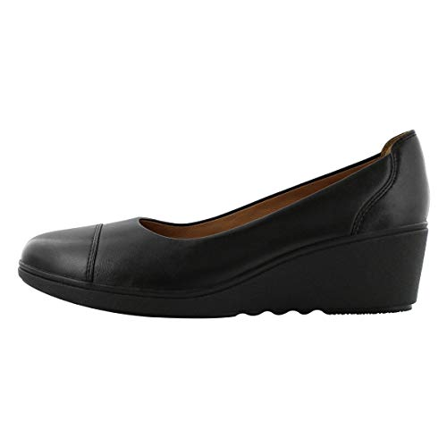CLARKS Women's Un Tallara Dee Wedge Dress Shoe Black 7 M US