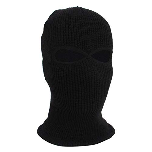 2 Holes Knit Full Face Cover Ski Mask Adult Winter Balaclava Beanie for Outdoor Sport (Black)