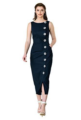 eShakti FX Floral Button Cotton poplin Sheath Dress Deep Navy/White ()