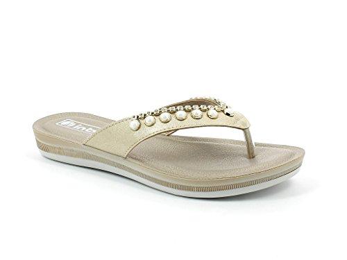 Sandales Poids Tous Chaussures Plates Jours Taille Or Été léger Les Glisser sur Confort Femmes Open Décontractée Dames Diamante Toe wHqZ16vI
