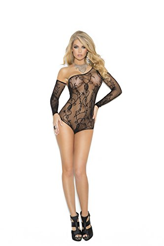 Hot Spot Women's One Shoulder Floral Fishnet Teddy and Gloves Lingerie Set (Fishnet Shoulder One)