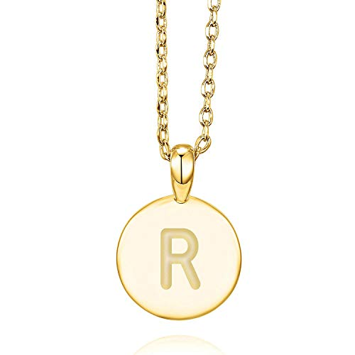 PAVOI 14K Yellow Gold Plated R Initial Alphabet Pendant Necklace