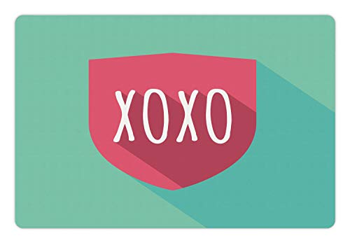 Ambesonne XOXO Pet Mat for Food and Water, Shield Guard Emblem with Kisses Abbreviation Protection by Love, Rectangle Non-Slip Rubber Mat for Dogs and Cats, Pale Seafoam Pale Ruby and White