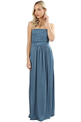 12 Ami Katie Solid Basic Strapless Pocket Maxi Dress Blue M