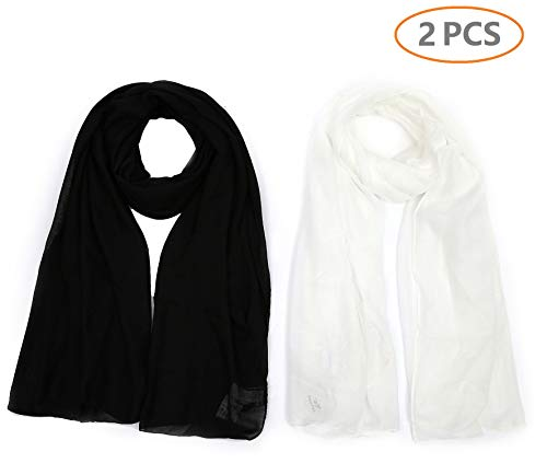 Light weight Plain Solid Rectangular Scarf For Women Oblong 72x39.5 Inches 2PCS for Set Black White