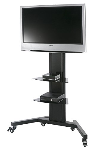 Fenge TV Carts TV for 42 Inch LED Screen Monitor Glass Av Locking Caster Black TT211201MB