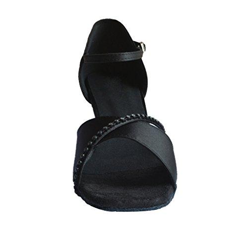 Jig Foo Sandalen offene Latin Salsa Tango Ballroom Dance Schuhe für Frauen mit 7cm Ferse Schwarz