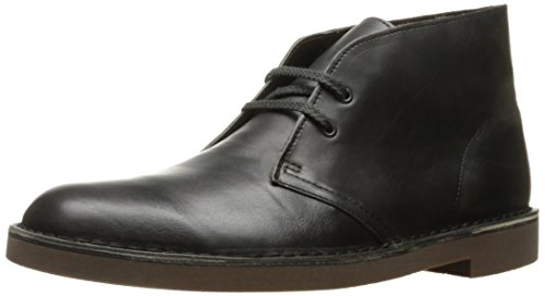 CLARKS Men's Bushacre 2 Chukka Boot, Black Smooth, 11 M (Black Smooth Chukka)
