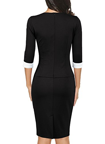 Woosea Women S 2 3 Sleeve Colorblock Slim Bodycon Business