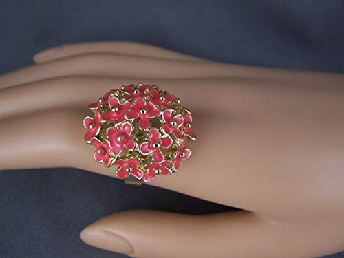 Coral Pink Gold tone floral flower bunch bouquet big cocktail ring adjustable R-4051