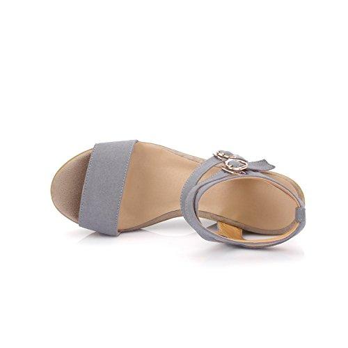 Tacones con y sólida hebilla para mujer punta altos Sandalias AgooLar en gris con abierta esmerilada SFxgxBw