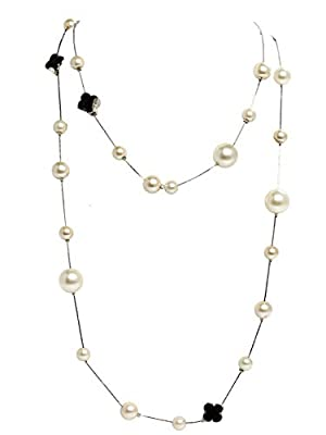Fashion Jewelry Bridal and Chic Long Imitation Pearl Clover Strand Necklace