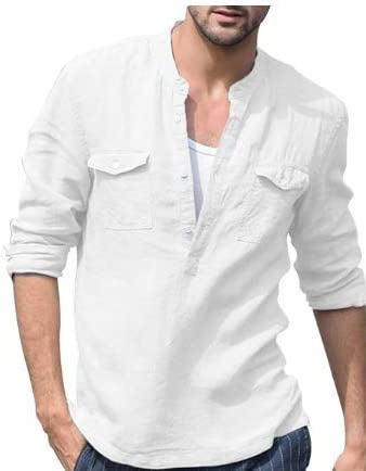 Camiseta de manga larga para hombre, estilo casual, de lino, de ...