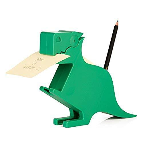 Plastic Memo Holder - MSFGJZM Animal Note Clip Multi-functional Plastic Memo Holder Note Stand Organizer, With 200 Sheets Random Color 2.6x2.74In Memo Included (Dark green dinosaur)