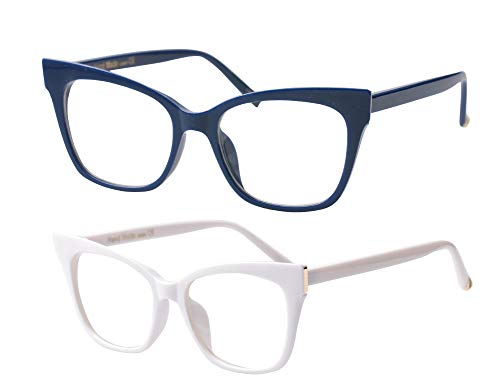 SOOLALA Vintage Stylish 53mm Lens Oversized Reading Glass Big Eyeglass Frame, BlueWhite, ClearLens