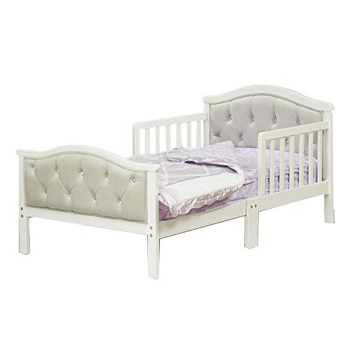 Toddler Bed with Soft Tufted Headboard, Kids Wood Bed Frame with Half Side Rails ()