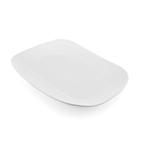 Mikasa Swirl White Square Rectangular Platter, 15-Inch