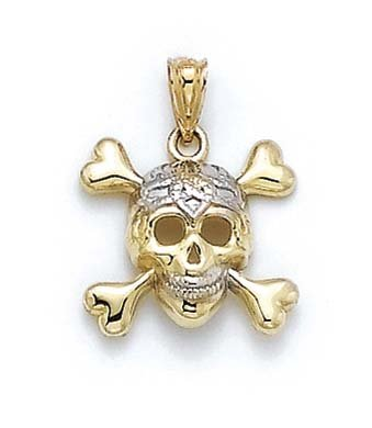 14k Two-Tone Gold Skull and Crossbones Pendant