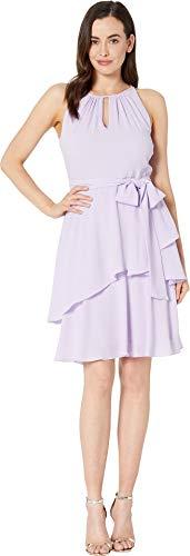 Tahari ASL Women's Slvlss Keyhole TIE Waist Tiered Dress, Lavender, 8