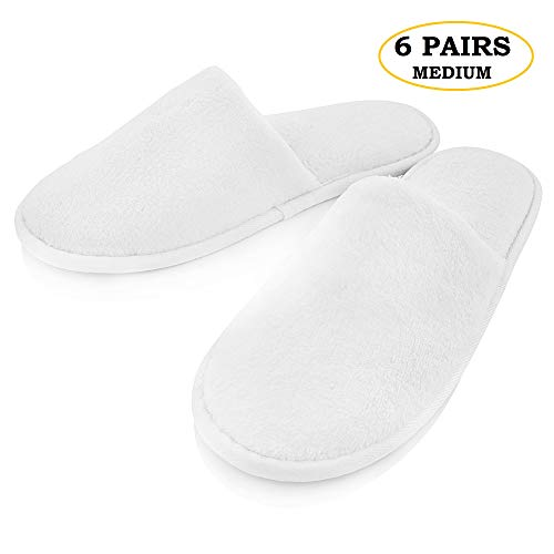 THE RESORT BOUTIQUE Spa Slippers- Closed Toe (6 pack Packaged Individually) Disposable Indoor House Slipper- Non-Slip Sole, Extra Soft and Cushioned Sole Padding (Medium)