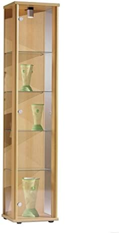Vitrina Mueble de pared 176x37x33 cm en color haya con iluminación con 4 estantes de vidrio: Amazon.es: Hogar