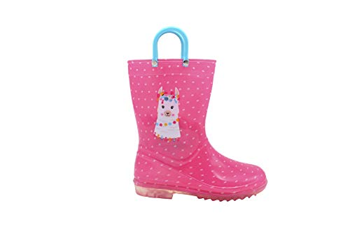 dELiAs Toddler Girls Rainboot 9-10 M US Toddler Cute Animal Printed with Easy-On Handles Waterproof Shoes Llama