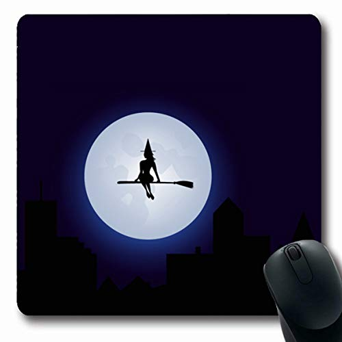 Ahawoso Mousepads for Computers Flying Blue Cute Witch On Broomstick Graphic Holidays Sexy Moon Broom Scary Design Autumn Oblong Shape 7.9 x 9.5 Inches Non-Slip Oblong Gaming Mouse Pad -