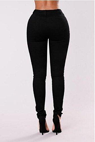 Fuweiencore Ricamati Zip Con Donna Fori Da Skinny Fiori E Nero Jeans 7q7raA