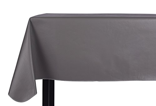 Yourtablecloth Heavy Duty Vinyl Rectangle or Square Tablecloth – 6 Gauge Heavy Duty Tablecloth – Flannel Backed – Wipeable Tablecloth with vivid colors & many sizes 52 x 70 Gray