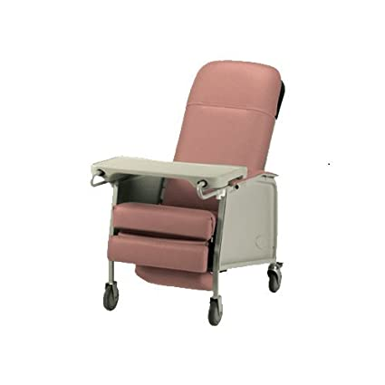 Three Position Reclining Chair With Collapsible TV Table   Invacare 3  Position Geri Recliner   Rosewood