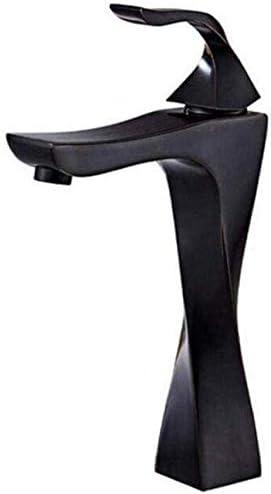 ZJN-JN 蛇口 タップレトロ温水と冷水のブラスキッチンウォッシュシンクのホットとコールドのミキサーのタップブラックブラシ浴室の蛇口のミキサークレーントレンディタップ 台付