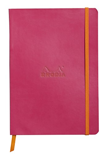 Rhodiarama Rodia Leather Softcover A5 Raspberry Notebook - Dotted Pages - 5.8 x 8.3 in