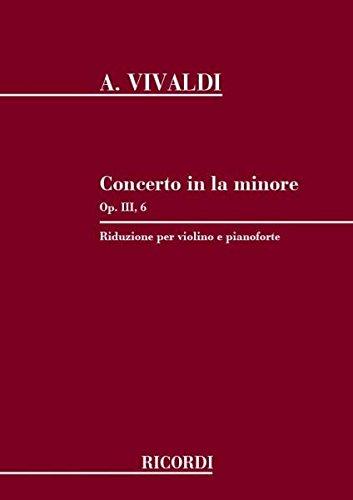 VIVALDI - Concierto en La menor (RV356) (F.I/176) Op.3 nº 6 para Violin y Piano (Abbado) ()