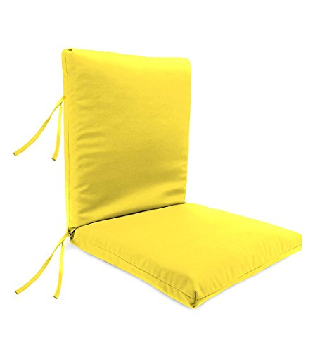 Deep Seating Club Chair Cushion (Classic Polyester Outdoor Large Club Chair Cushion With Ties, 44'' x 22'' with hinge 22'' from bottom - Daffodil)
