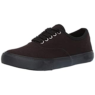 Amazon Brand - 206 Collective Women's Carla Lace Up Casual Sneakers, Canvas/Black, 6 M US