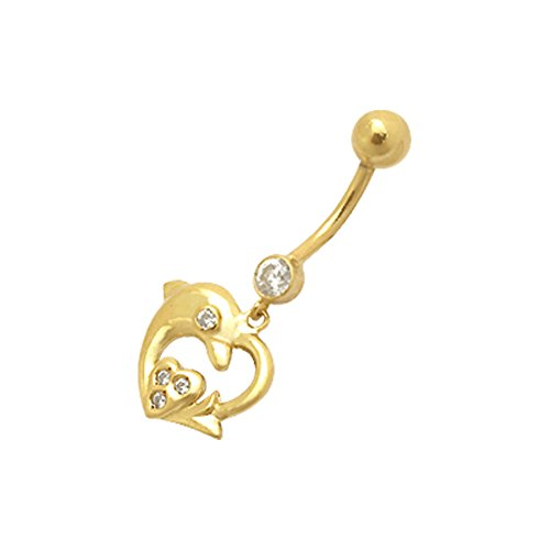 14K Solid Yellow Gold Top Round Jeweled with Dolphin in Heart Shape Dangling Belly Ring
