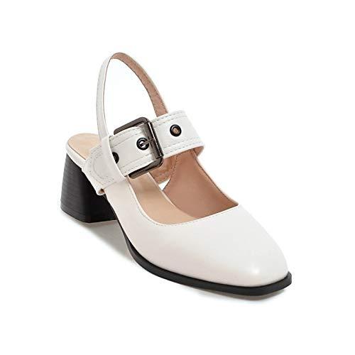 Bomba Verano Tacones de ZHZNVX Grueso Confort básica Negro Blanco Almendra de Poliuretano PU Black Mujer tacón Zapatos de rWrP180
