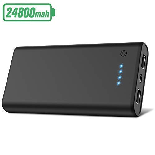 Portable Charger Power Bank【24800mAh】 HETP High Capacity External Battery Pack with 4 LED Lights Ultra-Compact High-Speed Recharging Battery Charger for iPhone iPad Samsung Android and More -Black