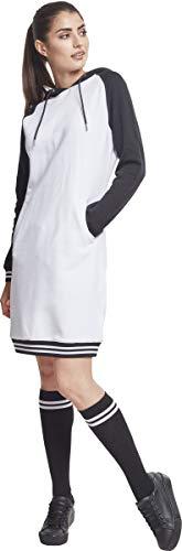 00224 Contrast Dress Multicolore Ladies Robe Hooded blk Urban Classics Femme College wht EXg6wxPq