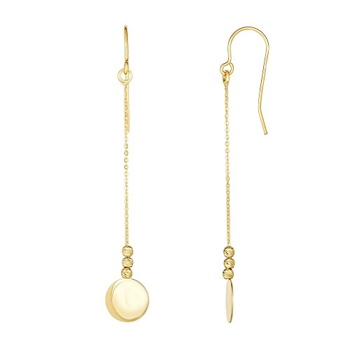 10Kt Yellow Gold Diamond Cut Bead+Flat Shiny Disc Drop Earring with Euro Wire Clasp