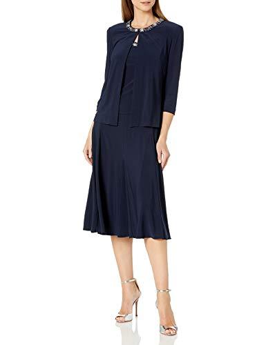 Alex Evenings Women's 2 Piece Tea Length Jacket Dress with Sequin Beaded Trim, Navy, 16