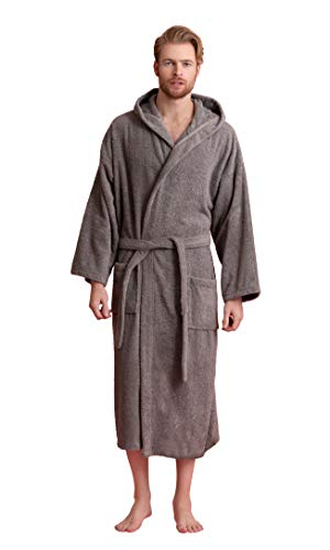 Men's Hooded Robe, Turkish Cotton Terry Hooded Spa Bathrobe (Gray, Large/One Size)