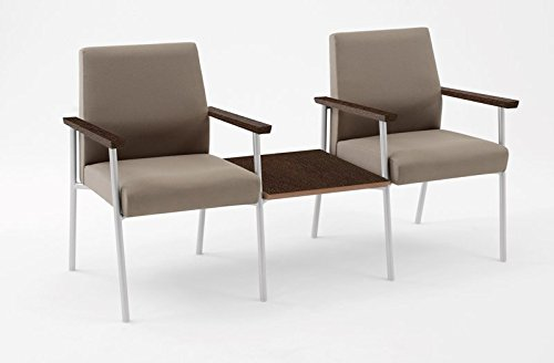 Lesro Mystic 2 Seat Guest Chair with Connecting Center Table and Walnut Wood Armrests, White Frame, Core Burst Fabric