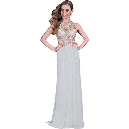 Terani Couture Chiffon Embellished Formal Dress Silver 6