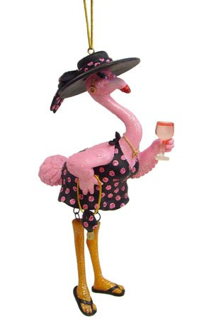 December Diamonds Felisha Flamingo Drinking Christmas Ornament 5590350,Pink,One Size ()