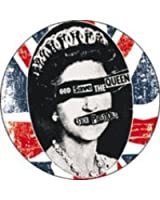 """Sex Pistols - God Save the Queen on Distressed British Flag (UK, Union Jack) - 1"""" Button / Pin"""