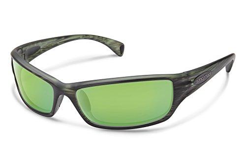 Suncloud Hook Sunglasses, Matte Green Stripe Frame/Green Mirror Polycarbonate Lens, One Size