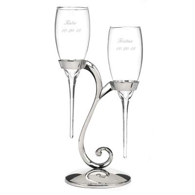 - Raindrop - Flutes with Swirl Stand Set of 2 Personalized Engraved Wedding Accessories Bride & Groom Toasting Glasses