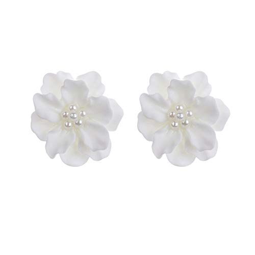 PAPPET Pearl Stud Earrings 1 Pair White Flower Freshwater Pearl Ear Stud Fashion Camellia Pearl Studs Earrings For Women & Girls Jewelry Birthday Gifts